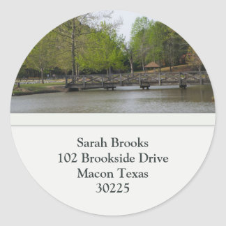 Lake View Address Labels Classic Round Sticker