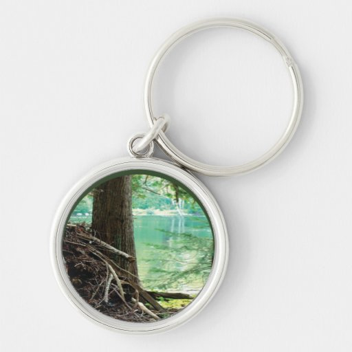 Lake View Silver-Colored Round Keychain