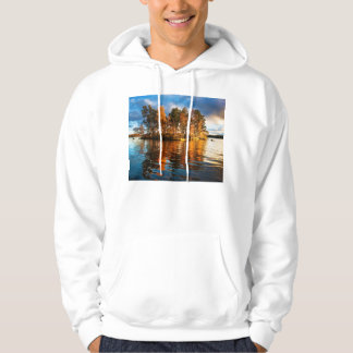 Lake Vuoksa Near Priozersk Russia At Sunset Hoodie