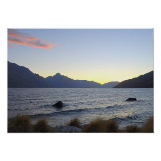 Lake Wakatipu at Sunset, Queenstown, NZ Poster