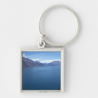 Lake Wakatipu Silver-Colored Square Keychain
