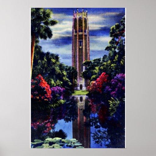 Lake Wales Florida Bok Singing Tower at Night Poster