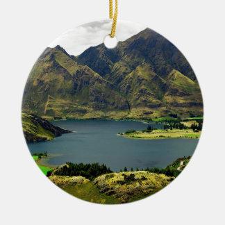 Lake Wannaka New Zealand Double-Sided Ceramic Round Christmas Ornament