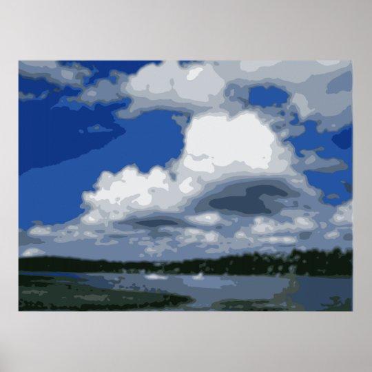 Lake Washington Puffy Clouds Illustration Poster