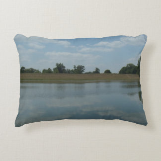 Lake Water Reflects the skies Fluffy White Clouds Accent Pillow