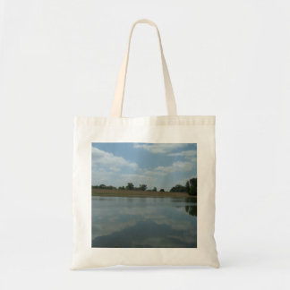 Lake Water Reflects the skies Fluffy White Clouds Budget Tote Bag