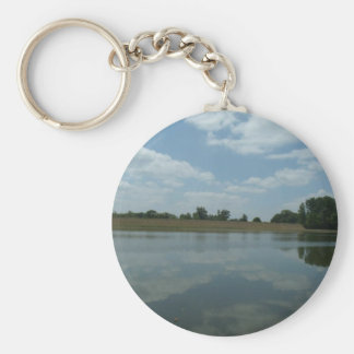 Lake Water Reflects the skies Fluffy White Clouds Basic Round Button Keychain