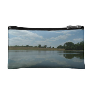 Lake Water Reflects the skies Fluffy White Clouds Cosmetic Bag