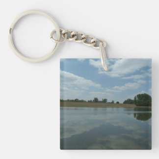 Lake Water Reflects the skies Fluffy White Clouds Double-Sided Square Acrylic Keychain