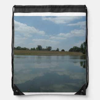 Lake Water Reflects the skies Fluffy White Clouds Drawstring Bag
