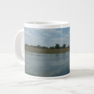 Lake Water Reflects the skies Fluffy White Clouds Giant Coffee Mug