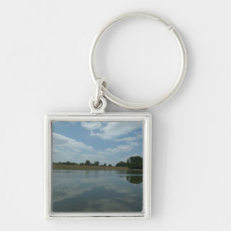 Lake Water Reflects the skies Fluffy White Clouds Keychain