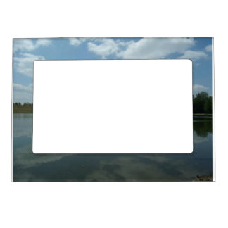 Lake Water Reflects the skies Fluffy White Clouds Magnetic Frame