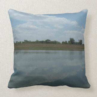 Lake Water Reflects the skies Fluffy White Clouds Throw Pillow