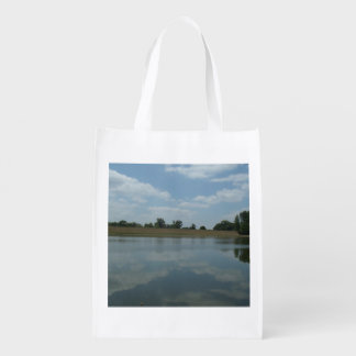 Lake Water Reflects the skies Fluffy White Clouds Reusable Grocery Bags