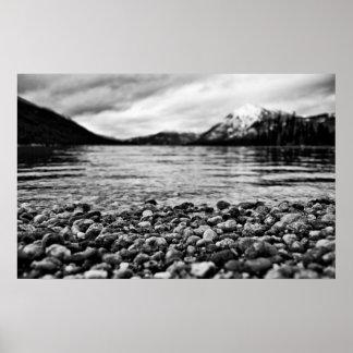 Lake Wenatchee Rocks Black and White Posters