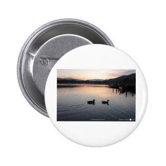 Lake Windermere ducks sunset Pinback Button