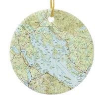 Lake Winnipesaukee Map (1986) Ceramic Ornament