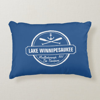 Lake Winnipesaukee NH custom town, name, anchor Accent Pillow