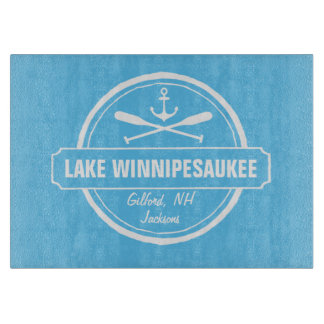 Lake Winnipesaukee NH custom town, name, anchor Cutting Board