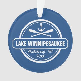 Lake Winnipesaukee NH custom town, name, anchor Ornament