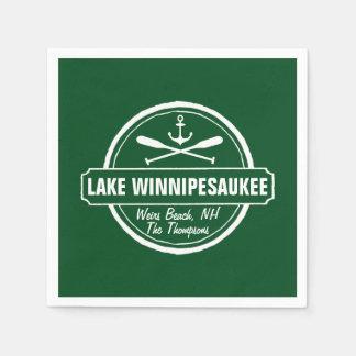Lake Winnipesaukee NH custom town, name, anchor Paper Napkin
