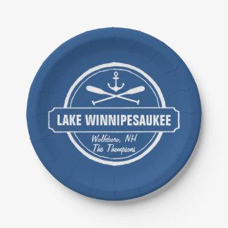 Lake Winnipesaukee NH custom town, name, anchor Paper Plate