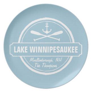 Lake Winnipesaukee NH custom town, name, anchor Plate