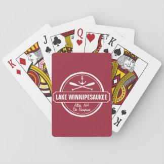 Lake Winnipesaukee NH custom town, name, anchor Playing Cards