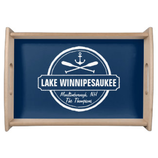 Lake Winnipesaukee NH custom town, name, anchor Serving Tray