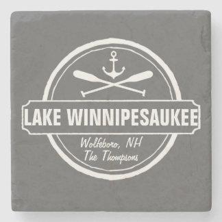 Lake Winnipesaukee NH custom town, name, anchor Stone Coaster