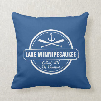 Lake Winnipesaukee NH custom town, name, anchor Throw Pillow