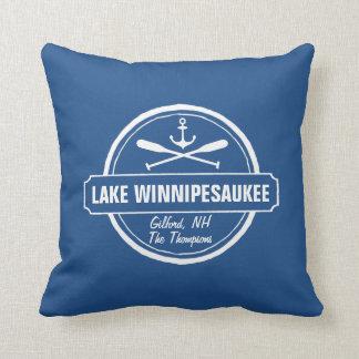 Lake Winnipesaukee NH custom town, name, anchor Throw Pillow
