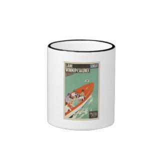 Lake Winnipesaukee NH Railroad Vintage Travel Ringer Coffee Mug