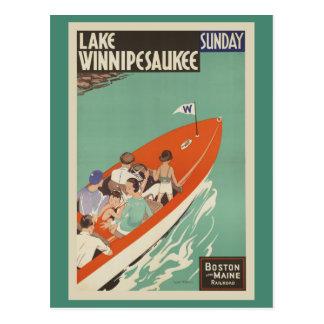 Lake Winnipesaukee NH Railroad Vintage Travel Postcard
