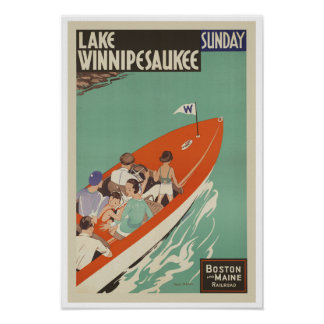 Lake Winnipesaukee NH ~ Vintage Travel America Poster