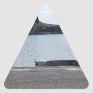 Lake with Cliffs and Dock Triangle Sticker