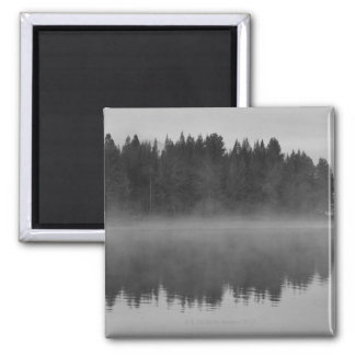 Lake with fog, Oregon 2 Inch Square Magnet