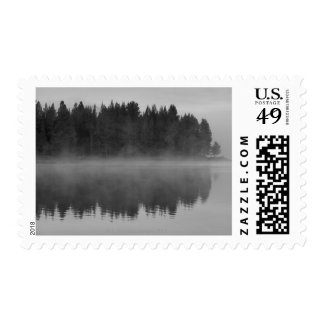 Lake with fog, Oregon Postage