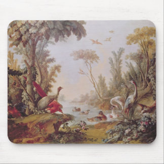 Lake with geese, storks, parrots and herons mouse pad