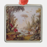 Lake with geese, storks, parrots and herons christmas tree ornament