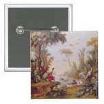 Lake with geese, storks, parrots and herons pinback button
