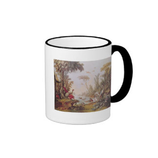 Lake with geese, storks, parrots and herons ringer mug