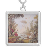 Lake with geese, storks, parrots and herons square pendant necklace