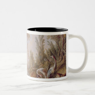 Lake with geese, storks, parrots and herons Two-Tone coffee mug