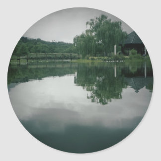 Lake with shadow card classic round sticker