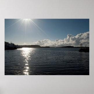 Lake with sunshine poster
