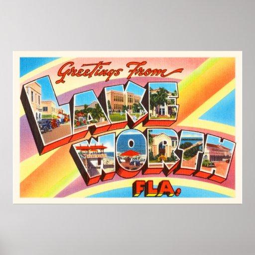 Lake Worth Florida FL Old Vintage Travel Souvenir Poster