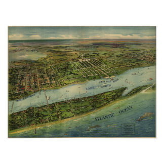 Lake Worth Palm Beach FL Birds Eye Panoramic Map Poster