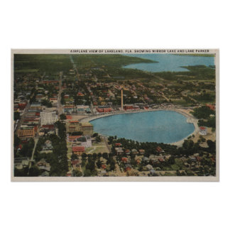 Lakeland, Florida - Aerial City View Showing Print